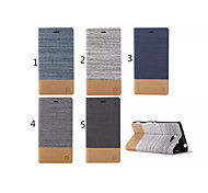 Canvas Lines Hit Color No Buckle PU Leather Full Body Case for Sony Xperia M2(Assorted Color)