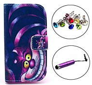 Cat Pattern PU Leather Case with Stylus and Dust Plug for Samsung Galaxy Trend Lite S7390/S7392