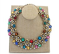 Women Exquisite Florals Cluster Rhinestone Chokers Necklaces