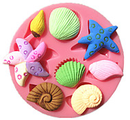 estrellas de mar mar caracol concha concha fondant moldes de la torta del molde del chocolate para la cocina horneando para el caramelo de