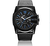 Cagarny Men's Colorful Digital Pointer Circular Dial PU Leather Strap Quartz Movement Wrist Watches (Assorted Colors)