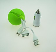 Universal Dual USB Car Charger with Charging Hidden Cable for iPhone 5/5S / iPhone 4/ Samsung (22cm)