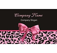 Business Cards 200pcs Pink Bowknot Black Leopard Print Black Pattern 2 Sided Printing of Fine Art Filmed Paper