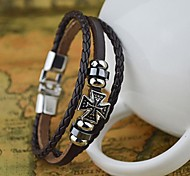 Fashion Men's Cross Shape Alloy and Leather Bracelet Christmas Gifts
