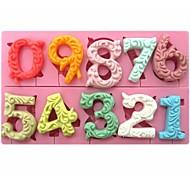 большой размер 0-9 номера в форме помадной торт шоколадный силиконовые формы см-318