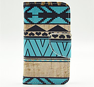 Blue Stripes Pattern PU Leather Full Body Case with Card Slot and Stand for iPhone 4/4S