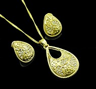 18K Golden Plated Water Drop Zircon Jewelry Set
