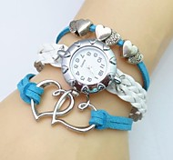 Fashion Handmade Women's Watch Love Heart Leather Weave Band Cool Watches Unique Watches