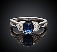 Fashion Elegant Big Diamante Women Blue and Silver Zircon Statement Rings(Blue and Silver)(1Pcs)