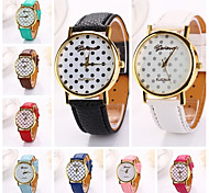 Women  Dots Printing  Pu Leather  Brand Luxury Lady Bracket Dress Wristwatch (Assorted Colors)C&D-205