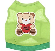 Cute Bear Pattern Cotton Light Green Vest for Pets Dogs (Assorted Sizes)