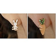 The Small White Rabbit Carrots Alloy Clip Earrings(1Pair)