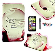KARZEA™Love Lamp Pattern PU Leather Case with Screen Protector and Stylus+Dust Plug for Nokia Lumia N630