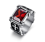 Cool Inlay Zircon Ruby Cross Stainless Steel Men's Ring