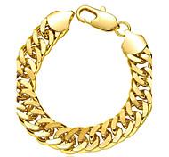 Generous Simple Women's Sideways Gold Plated Brass Chain & Link Bracelet(Golden)(1Pc)