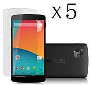[5-Pack] High Transparency LCD Crystal Clear Screen Protector with Cleaning Cloth for LG Nexus 5/E980