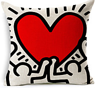 Modern Style Red Abstract Heart Patterned Cotton/Linen Decorative Pillow Cover