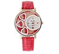 Women's Fashion Heart-shaped Design Circular Dial PU Leather Strap Quartz Movement Wrist Watches (Assorted Colors)