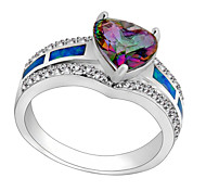 High Quality Fashion Color Heart-Shaped Opal Ring