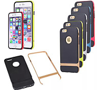 New Black TPU Back Cover with Solid Plastic Frame Two in One Case for iPhone 6