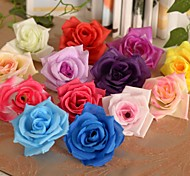 "2.8""L Simple Roses Heads Silk Cloth Flowers 6 Pcs"