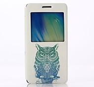 Green Hawk Pattern PU Leater Open Window Stand Full Body Case for Samsung Galaxy A5