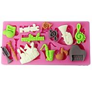 Four-C силиконовые Кубок торт плесень музыкальные инструменты sugarpaste формы розовый цвет