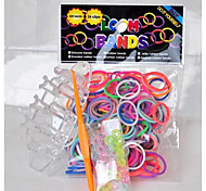 300pcs DIY Rainbow Color Loom Style Silicone Bands ,12 S-clips, 1 Looms ,1 Hook