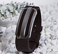 Fashion Men's Brown 316L Stainless Steel Leather Bracelet