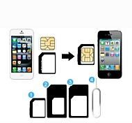 3-In-1 SIM Card Adapter and Eject Pin for iPhone 5, iPhone4 and 4S (Assorted Colors)