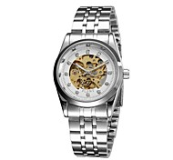 Women's Japan Automatic self-winding Movement Stainless Steel Band Analog Fashion Watch hollow Out Slive/Gold