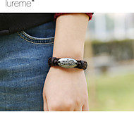 Lureme® European Style Leather Bracelet Alloy Accessories House Lizard Label Men'S Leather Bracelet