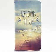 The Cloud of Birds Pattern PU Leather Full Body Case with Stand and Card Holder for iPhone 6