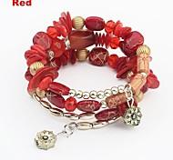 Women's Ethnic Layers Beads Pendant Wrist Chain Bracelets