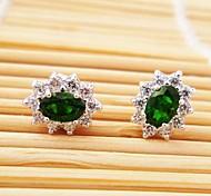 925 silver platinum plating Tou Huishi Earrings Gemstone Stud Earrings
