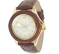 Frauenholz Goldgehäuse runden Zifferblatt braunes Lederband Quarz-Armbanduhr