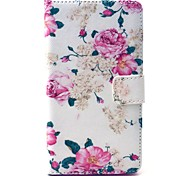 Beautiful Rose Flower Pattern PU Leather Case with Money Holder Card Slot for Samsung Galaxy A5