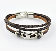 Fashion Men's Letter Alloy and Leather Bracelet