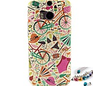 Bicycle Pattern TPU Back Cover Case and Dust Plug for HTC One(M8)