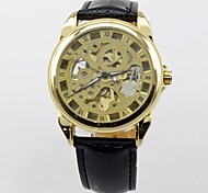 Men's Military Watch Automatic Self Wind Analog Water Resistant/Hollow Engraving Genuine Leather