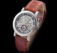 automatische mechanische hohle Wahl braunem Leder-Band-Armbanduhr der Frauen