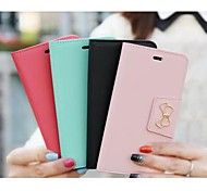 Sewing Thread Bowknot Wallet Card PU Leather Cover with Stand for iPhone 6 Case (Assorted Color)