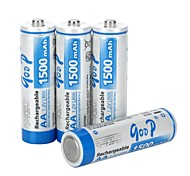 4 PCS GOOP Replacement 1.2V 1500mAh Rechargeable NiMH AA Battery (White and Blue)
