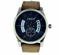 Men's Sports Watch Quartz Analog Leather Strap (Assorted Colors)