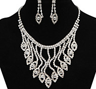Fashion Beautiful Water Drop Shape Rhinestone Silver Copper Jewelry Set(1 Set)