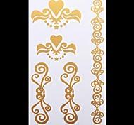 1PC Gold Tattoos Body Jewelry Temporary Tattoos Flash Tattoos Metallic Tattoos Wedding Party Tattoos(20*10cm)