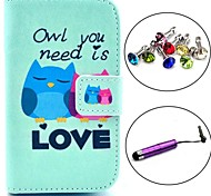 Love Owl Pattern PU Leather Case with Stylus and Dust Plug for Samsung Galaxy Fame S6810/S6818