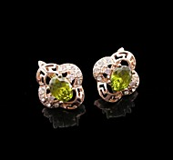 18K Russia CC/585 Golden Plated Rose Color Great Wall Lines Green Zircon Earrings