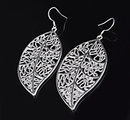 Women's Earrings Fashion Titanium Leaf Pendent Pierced Alloy Handmade Earrings