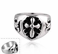 Maya Fashion Individual Water Drop Cross Stainless Steel Man Ring(Black)(1Pcs)